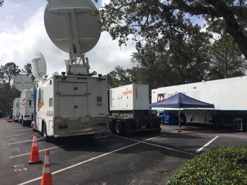 Satellite trucks and production trailer