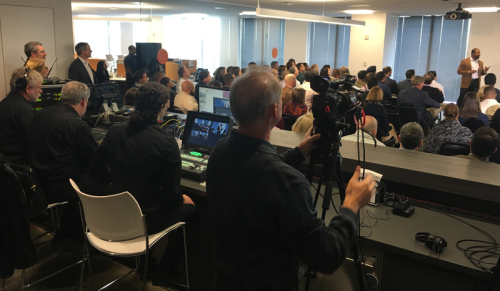 Live all-hands meeting during a private webcast.